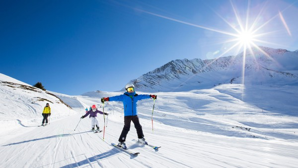 Chamonix Mont Blanc, France, Skiing on Piste in the Sun