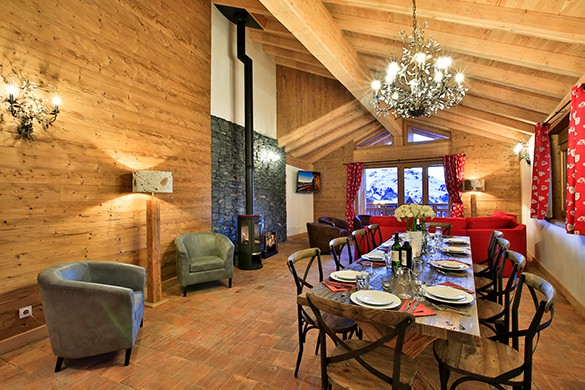 Main living and dining area, Chalet Siilene, La Plagne, France