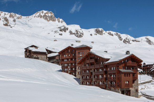 Snowy exterior of Village Montana - Self-catered ski apartment in Tignes, France