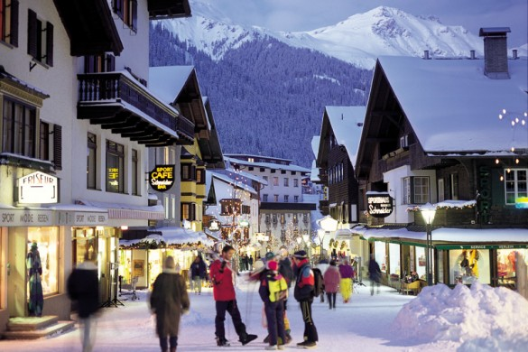 The snowy streets of St Anton town centre