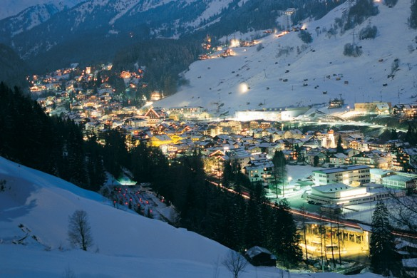 St Anton lights up at night for some apres ski
