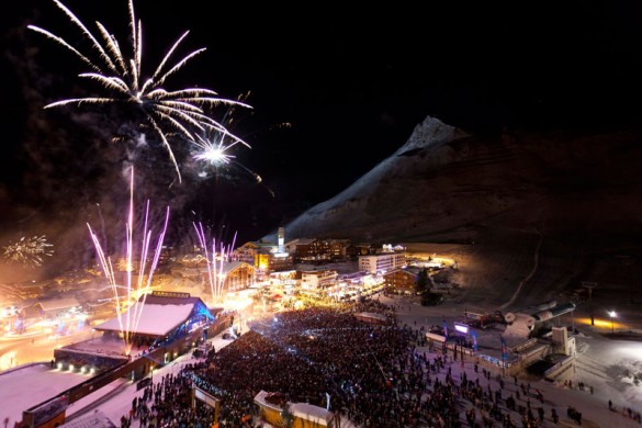 New years eve fireworks in Tignes
