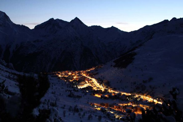 Town at night, Les Deux Alpes, France