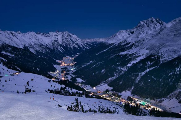 Town at night, St Anton am Arlberg, Austria