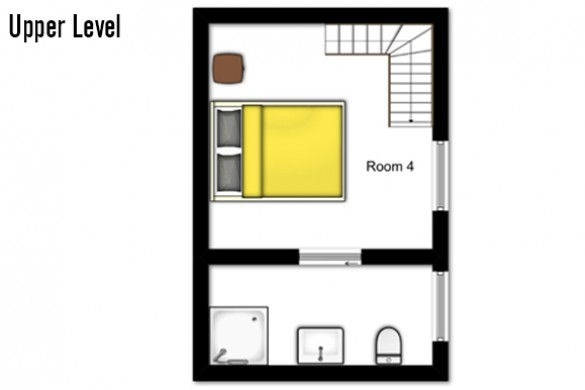 Floor plan of Chalet Hellebore, upper level - ski chalet in La Plagne, France