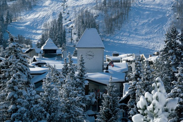 Snowy rooftops in Vail