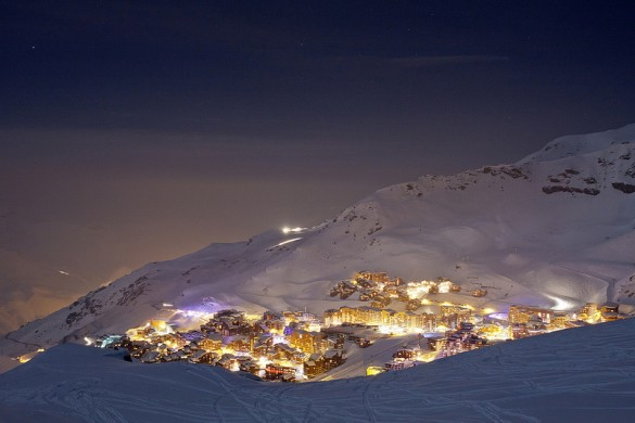 Val Thorens resort lights up at nightime