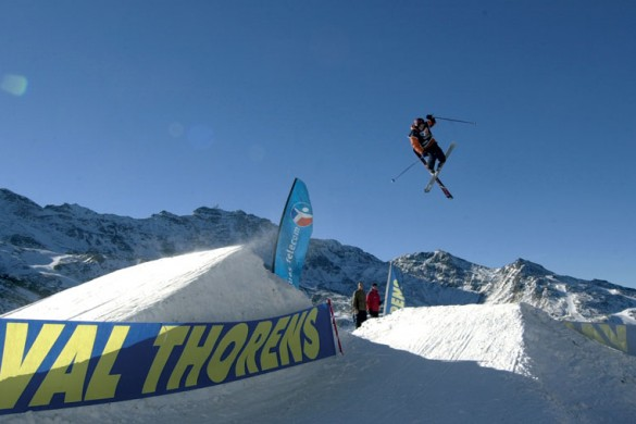 Extreme slopestyle skiing in Val Thorens, France