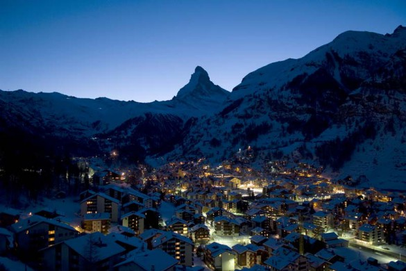 Village at night, Zermatt, Switzerland