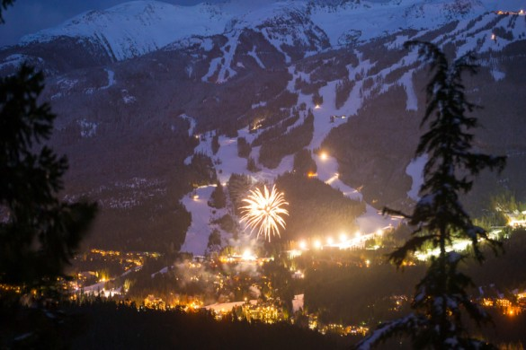 Fireworks light up the night sky in Whistler, Canada