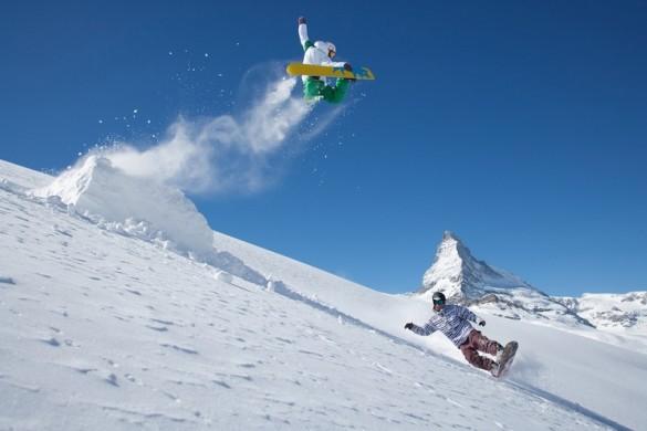 Back-country park snow boarding in Zermatt