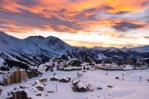 Avoriaz, France, View of Resort at Sunset