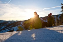 Beaver Creek Snowboarders at sunset