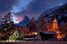 Dusk town centre, Zermatt, Switzerland