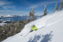 Skiing powder in Heavenly USA with Lake Tahoe in the background