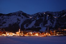 Jackson Hole resort lit up as night time comes around