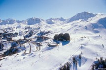 Aerial view of the sweeping runs in La Plagne, France