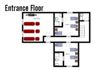 Floor plan of chalet Laetitia, entrance floor - ski chalet in Meribel, France