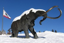Snow covered Mammoth statue stands tall under a blue sky