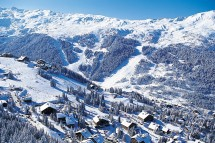 Aerial view of snowy Meribel town