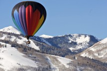 Beautiful views of the mountains from a hot air balloon in Park City