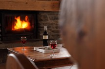 Fire and wine in chalet Premiere Neige - ski chalet in Val d'Isere, France