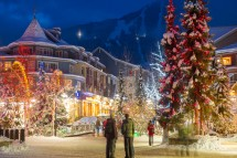 Colourful christmas lights and decorations in Whistler, Canada