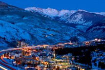 The lights of Vail town at night