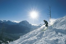 A skier tackling a difficult slope on a ski holiday in Verbier
