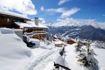 Snow topped ski chalets in Verbier, Switzerland